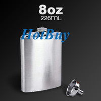 Wholesale 8oz Stainless Steel Flask Whiskey Hip Liquor Alcohol Drink Pocket Bottle Funnel