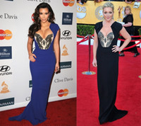 Reference Images V-Neck Chiffon Sexy V-Neck Mermaid Blue Black Sequin 2014 kim kardashian Dress Chiffon celebrity red carpet Court Train Evening Gowns Prom Dresses H12