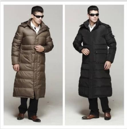 2017 Men Thickening Down Coat Hooded Detachable Cap Over The Knee