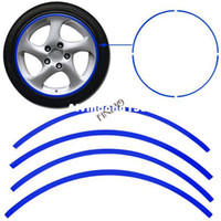 Wholesale 16 Strips Car Motorcycle Blue Reflective WHEEL Rim Stripe Decal sticker Drop Shipping