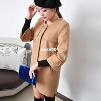 Coats Unisex Cotton coats Overcoat new arrival elegant ladies woolen outerwear medium-long solid color