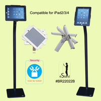 1piece/Lot apple ipad commercial - Public Advertising tablet security metal frame floor stand outdoor commercial safety lock exhibition rack display mount holder for iPad2