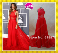 Wholesale th Grammy Rihanna Red Carpet A line Halter Criss Cross Chapel Train Chiffon Real Celebrity Wedding Evening Party Dresses