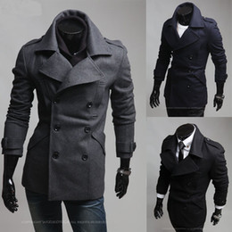 Wholesale New Design Epaulets Slim Trench Coat Lapel Collar Long Sleeve Cotton Blended Double Breasted Winter Men s Business Casual Trench Coats M005