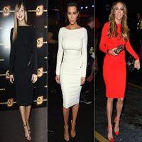 Real Photos Scoop Elastic Silk like Satin Scoop 2014 kim kardashian Dress Long Sleeve Black Red White Sheath Knee-Length celebrity red carpet Prom Dresses Evening Gowns Q20