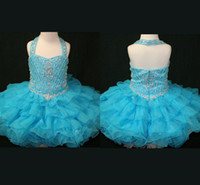 Real Photos Girl Beads 2014 New Arrival Halter Kids Ball Gown Little Girls Prom Pageant Dresses Toddler Pageant Dresses
