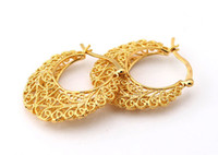 Wholesale Hot Item K Real Gold Plated Hollow Flowers Hoop Earrings Basketball Wives Earrings Fashion Jewelry For Women E677