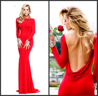 Real Photos Jewel/Bateau Jersey  2014 Cheap Sexy New Red Long Sleeves Jersey Mermaid Prom Dresses Backless Ruffles Beaded Evening Gowns TE 92271