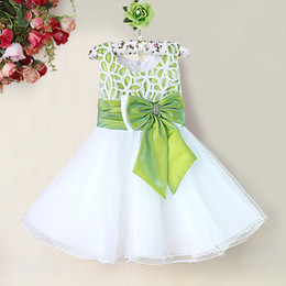Fairy Girls Princess Dresses Kids Green And White Party Dress With Big Bow Fashion Sleeveless Children's Clothing GD31115-25