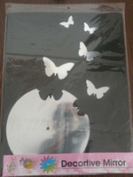 Wholesale Butterfly Acrylic Pattern Mirror Wall Decortive Clock Decal Art Stickers SB29 sets EMS free