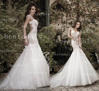 2014 Backless mermaid Lace wedding dresses Sexy Spaghetti Fl...