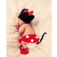 Girl Spring / Autumn  Baby Girl Crochet Minnie Mouse Earflap Hat Diaper Cover Skirt Bootie Outfit Photography Props