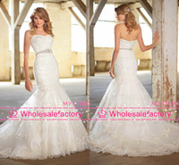 Wholesale 2014 New Wedding Dresses Sexy Strapless Sleeveless Backless Jewelry Sash Long Mermaid Lace Bridal Gowns D1353