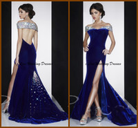 Wholesale 2014 New Noble Sexy Sheath Slit Portrait Beading Formal Evening Dresses Velvet Blue Black Sleeveeless Ruffle Party Gowns Backless Green TE