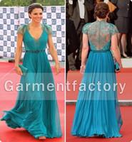 Compra Cordón de la celebridad de la gasa verde-Sheer Lace Back Vestidos de noche Princesa Kate Middleton Lace Top Cap manga Esmeralda verde gasa celebridad alfombra roja Vestidos