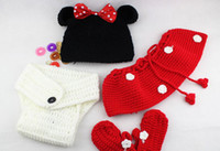 Cheap Baby Girl Crochet Minnie Mouse Earflap Hat Diaper Cover Skirt Bootie Outfit Photography Props