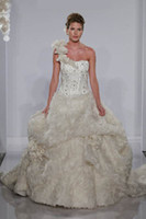 gorgeous fabrics - Gorgeous Pnina Tornai One Shoulder Full Beaded Lace Rose Fabric Puffy Ball Lace Up Wedding Dresses Bridal Gown BRI