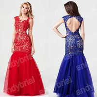 2014 Hot Selling Prom Dresses Sexy Lace Crew Mermaid Floor- L...