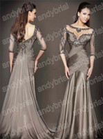 2014 New Arrival Prom Dresses Crystal 3 4 Sleeve Bateau Sexy...