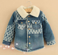 Wholesale Children Outwear Winter Jackets Boys Casual Plaid Coat Child Clothing Kids Cotton Jackets Long Sleeve Coat Baby Clothes Blue Denim Jacket