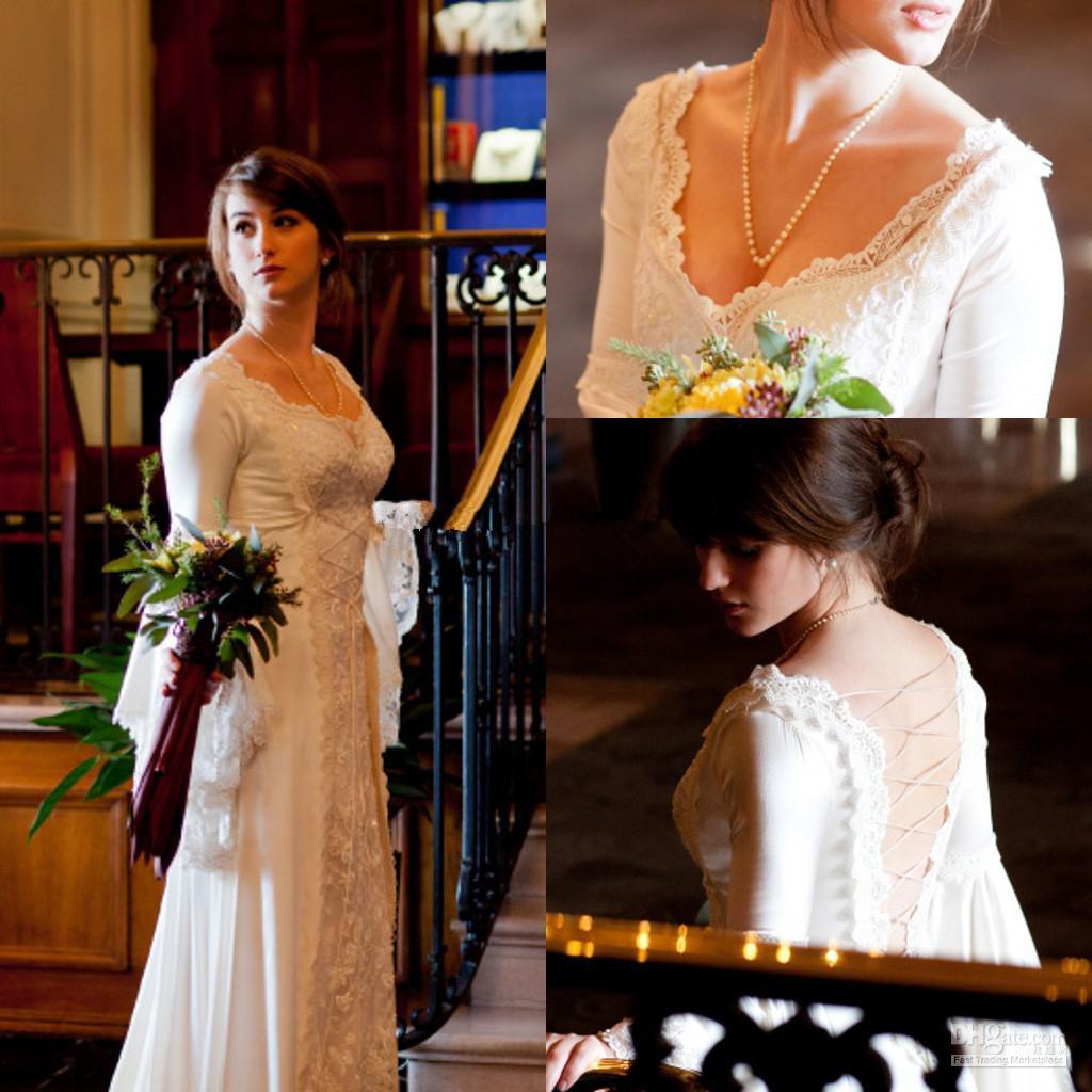 Fashion 2014 wedding kathe dresses v neck long sleeves for Wedding dresses for big arms