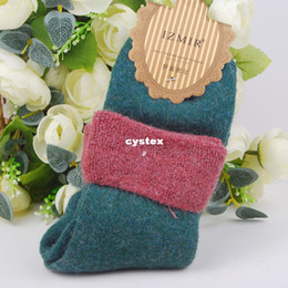 Wholesale Women socks wool high quality new brushed wool socks terry socks mixed colors thicker flange rabbit wool socks pairs w0582