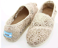 Wholesale free ship knitted crochet canvas shoes women tom hollow out shoes Lazy shoes hole shoes pairs