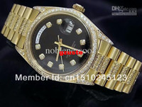 Sport Men's Wristwatches 18k Yellow Gold Super President Diamond Black Automatic Luxury Mens Watch Men's Watches