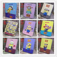 Wholesale Cute Despicable Me Cartoon Leather fold Stand Cover Case Skin for iPad air Mini tablet PC big eye Me more minions