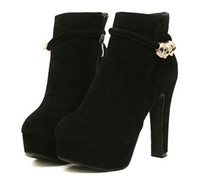 Wholesale 2014 winter boots thick high heeled platform boots scrub skull decoration boots martin boots