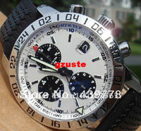 Wholesale luxury GMT Chronograph White Dial Model black rubber belt quartz japan wristwatches sports watch and outdoor watch