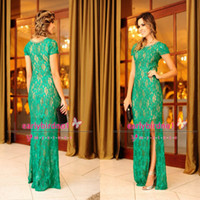 Wholesale 2014 vestidos formales Sexy Crew Short Sleeve Prom Dresses Lace Sheer See Through Side Split Vintage Formal Evening Gowns BO3419