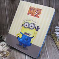 Wholesale New Cute Despicable Me Cartoon Leather fold Stand Cover Case Skin for iPad air Mini inch tablet PC big eye Me more minions