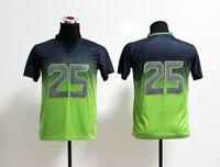 Wholesale Youth Football Jerseys New Richard Sherman Blue Green Drift Fashion II Elite Jerseys for Kids Best Christmas Gifts Mix Order