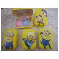 Wholesale Despicable Me Contact Lens Case Fashion Cute Contact Lens Box Faux Leather Multi function