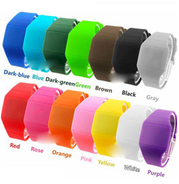 Wholesale Mix colors touch led watch Rubber bands digital rubber unisex men women ultra thin fashion sport watches LT002
