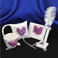 feather pen - White amp Purple D Rose Flower Wedding Guest Book Bearer Ring Pillow amp Feather Pen Set Girl Flower Basket Wedding Suppliers Favor Full Set