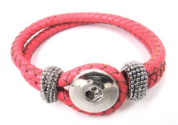 Free shipping Noosa pink leather Bracelet DIY Fashion Noosa Jewelry
