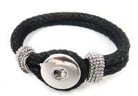 Wholesale Noosa black leather Bracelet DIY Fashion Noosa Jewelry
