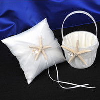 Wholesale Beach Starfish Pearl Wedding White Ivory Stain Bearer Ring Pillow Girl Flower Basket Guest Book Golden Pen Set Full Set Decorations Supplier