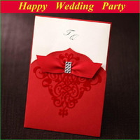 Invitations & Invitation Buckles Folded Red 50 Sets Red Ribbon Embossed Wedding Card 50+ 50 Wedding Envelopes + 50 seals free customize printable wedding invitation 112415