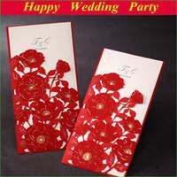 Invitations & Invitation Buckles Flat Card Red Elegant Flower Wedding Invitations Red Laser Cut Card+wedding envelope, Wedding Favor Gifts 112408 free shipping