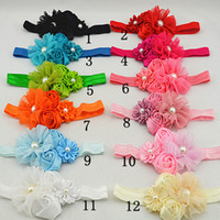 Wholesale Trail order chiffon flower with pearl headband satin ribbon flower double rose flower baby headbands hair accessories
