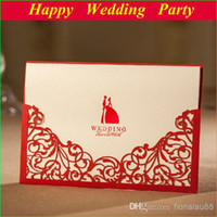 Invitations & Invitation Buckles Folded Red Red laser cut wedding invitation with envelope, Lucky Love Wedding Card, Wedding Favor Gifts for Party 112417