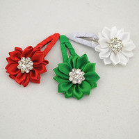 Wholesale Trail order NEW arrivel Grosgrain Ribbon covered BB Clip satin ribbon flower with rhinestone hair pin accessories