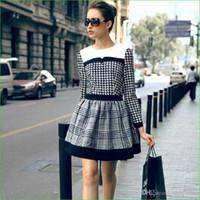 Cheap European style women dress grid 2013 brand design lady knee-length casual dress spring autumn women clothing 112501