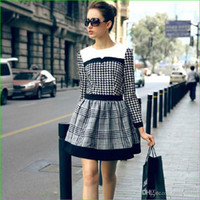 Casual Dresses Round Knee Length European style women dress grid 2013 brand design lady knee-length casual dress spring autumn women clothing 112501