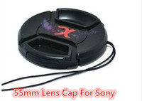 Wholesale 55 mm Lens Cap With Logo with Anti lost RopeFor Sony mm mm A290 A580 A200 A450 A330 HX300