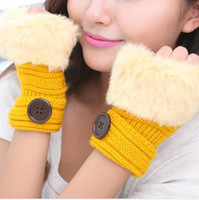 Wholesale New fashion buttons striped faux rabbit fur knitted Gloves Lady s Winter warmer Fingerless gloves Half fingers Gloves women Hand Wrist