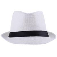Wholesale Hot Fedora Khaki Hat Unisex Trilby Cap Summer Beach Sun Straw Panama Cowboy
